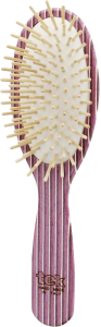 TEK Big oval brush in kaleidowood with short wooden pins (white, pink, violet)