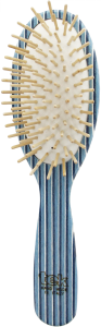 TEK Big oval brush in kaleidowood with short wooden pins (white, blue,light blue)