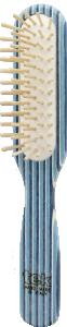 TEK Slim rectangular brush in kaleidowood with short wooden pins (white, blue, light blue)
