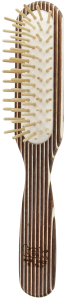 TEK Slim rectangular brush in kaleidowood with short wooden pins (brown, white, wenghé)