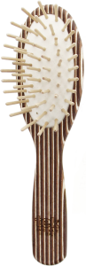 TEK Small oval brush in kaleidowood with short wooden pins, straight handle (brown, white, wenghé)