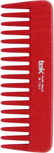TEK Medium sized wooden comb with wide teeth Red