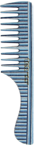 TEK Comb with handle in kaleido wood wide teeth (white, blue, light blue)