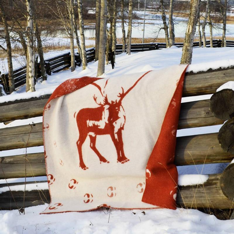 Team Lapland Ullfilt Ren med spår röd