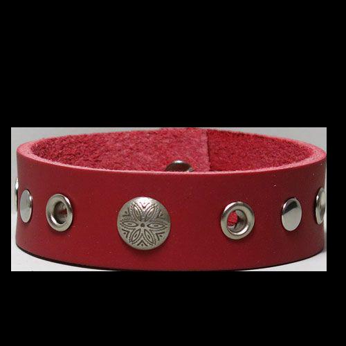Bäcken läderarmband Röd