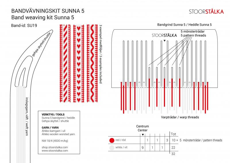 Stoorstålka bandvävningskit Sunna 5 Vit-röd