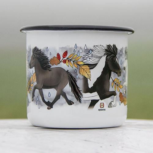 Emaljmugg med hästar som motiv