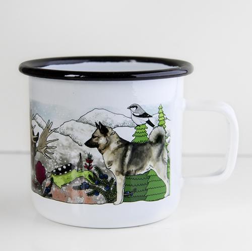 Vit emaljmugg med motiv av hundrasen gråhund från Eplaros