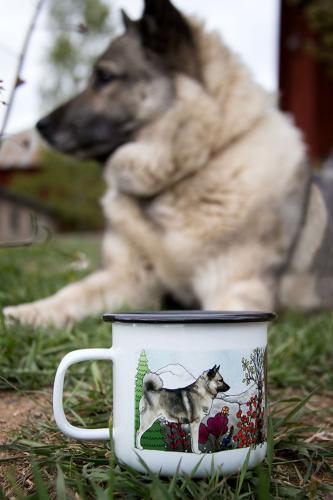 Emaljmugg Gråhund
