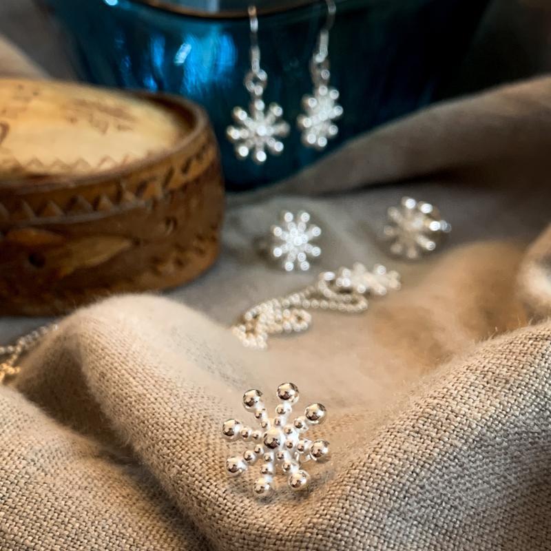 Silversmycken snöflingor