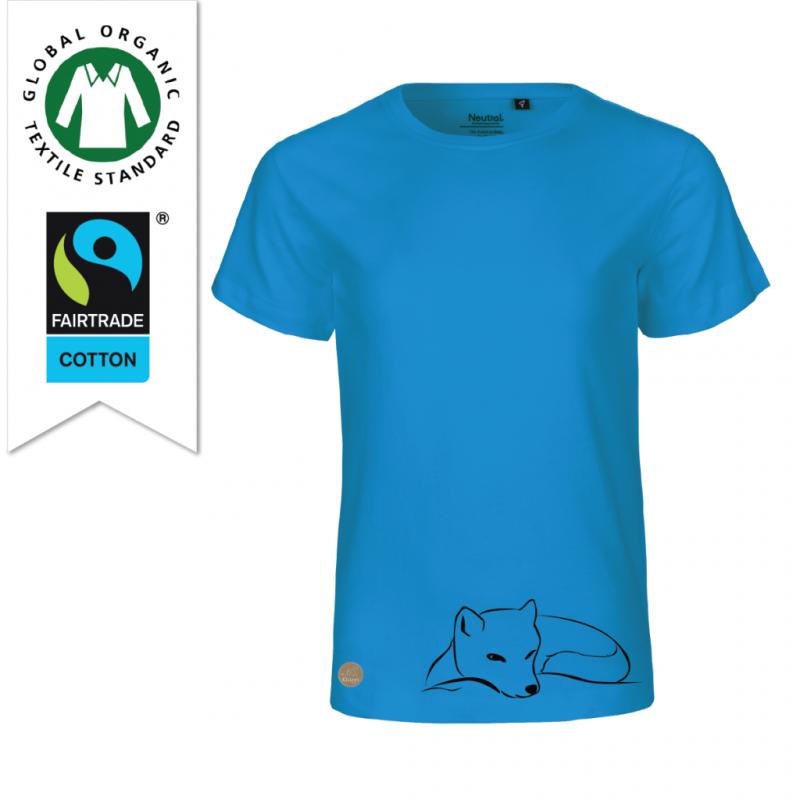 Blå ekologisk bomulls t-shirt faitrade till barn med tryck Fjällräv designad av Kläppi