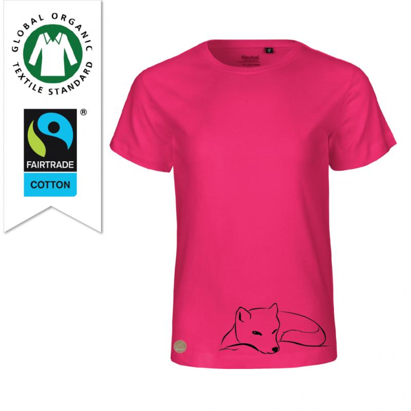 Ekologisk bomulls t-shirt faitrade till barn rosa med tryck fjällräv designad av Kläppi