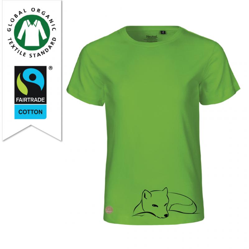 Grön T-shirt till barn av ekologisk bomull och fairtrade designad av Kläppi