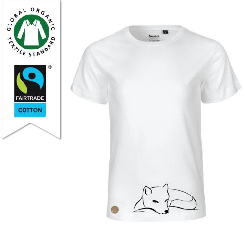 Ekologisk och fairtrade t-shirt för barn av bomull från Kläppi med trycket Fjällräv