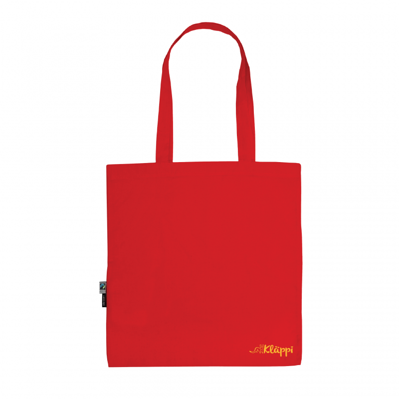 Kläppi- Röd Ekologisk tygkasse med tryck 2
