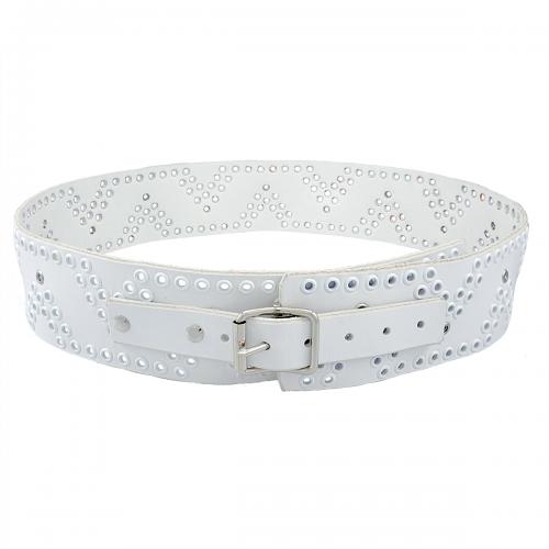 6 cm brett knivbälte av vitt läder och vita och silver öljetter Fjäll