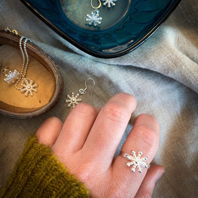 Silverring snöflinga