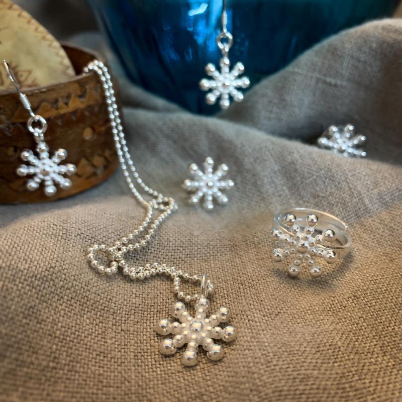 Silversmycken snöflinga