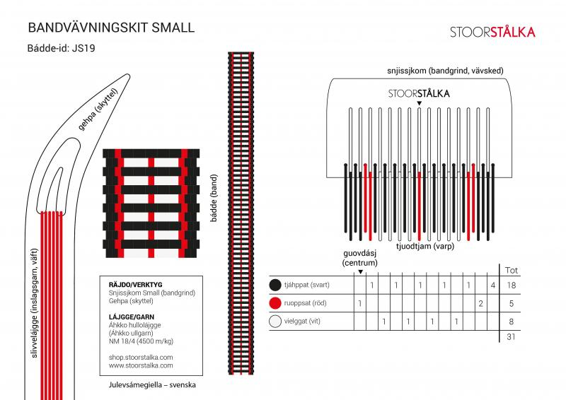 Stoorstålka bandvävningskit-Small Vit/svart