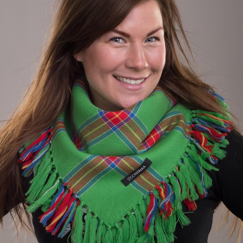 Stoorstålka mellanstor samisk ullsjal grön