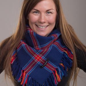 Stoorstålka mellanstor samisk ullsjal mörkblå