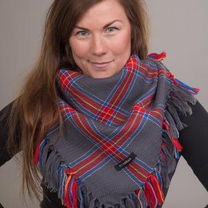 Stoorstålka stor samisk ullsjal mörkgrå
