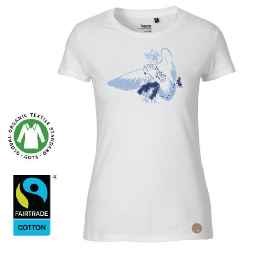 "T-shirt ""Fjälluggla"" vit (D)"