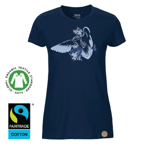 """T-shirt """"fjälluggla"""" navy (D)"""