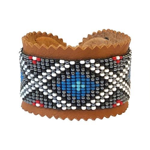Armband renskinn och glaspärlor blå