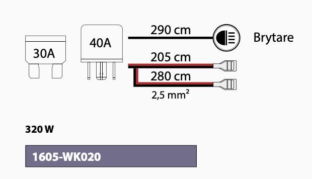 Extraljuskablage för 2 st ljus med relä och brytare