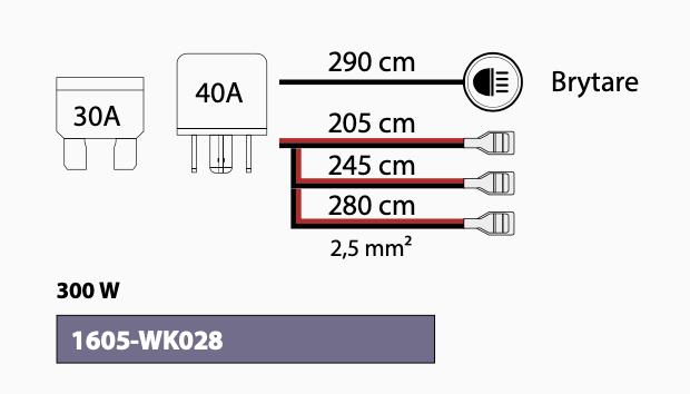 Extraljuskablage för 3 ljus, med relä och brytare