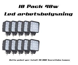 10-Pack 48w Led arbetsbelysning