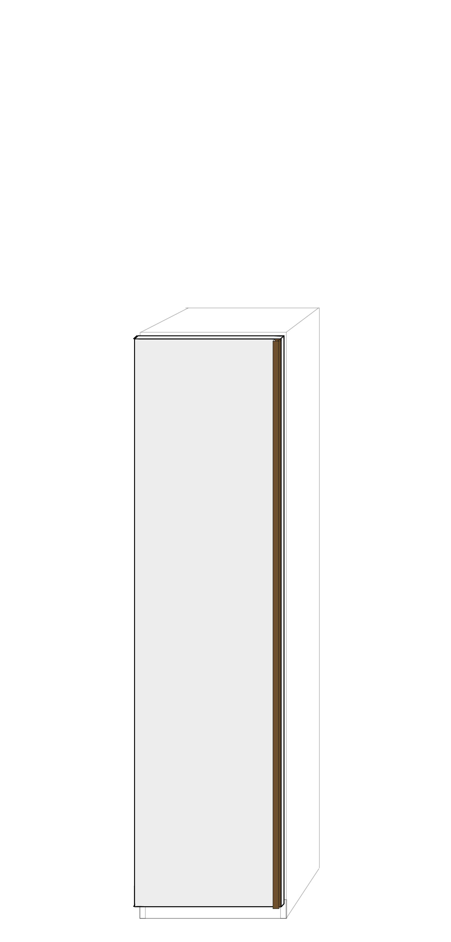 Vänsterhängd dörr 50cm Pax - fanér med grepplist
