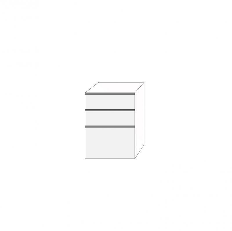 Fanér 60x80 - 3 lådfronter med grepplist: 20/20/40