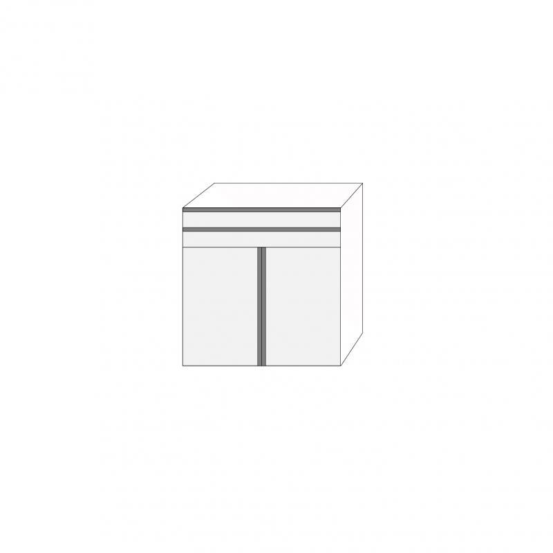 Fanér 80x80 - 2 lådfronter med grepplist 2 luckor