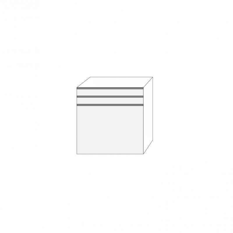 Fanér 80x80 - 3 lådfronter med grepplist: 10/10/60