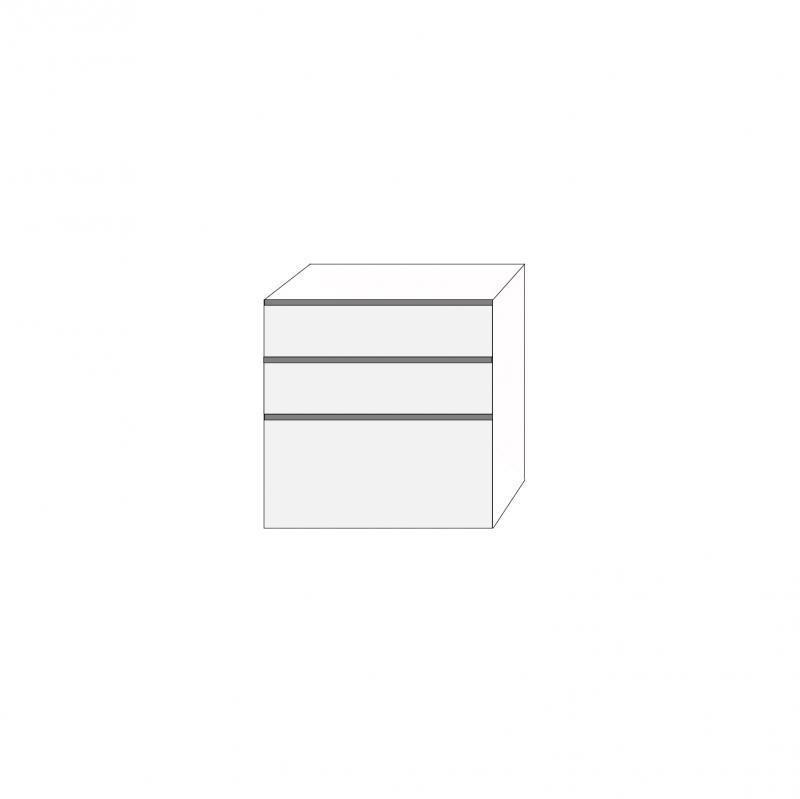 Fanér 80x80 - 3 lådfronter med grepplist: 20/20/40