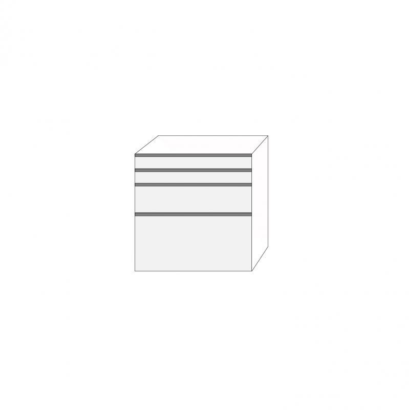 Fanér 80x80 - 4 lådfronter med grepplist: 10/10/20/40