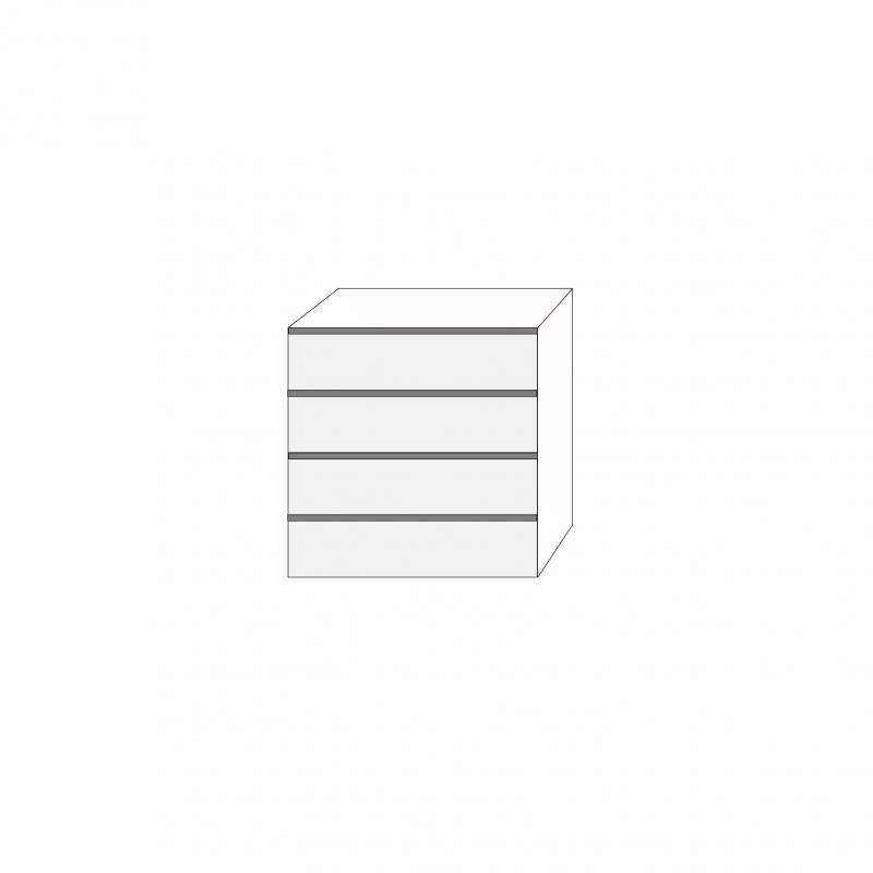 Fanér 80x80 - 4 lådfronter med grepplist: 20/20/20/20