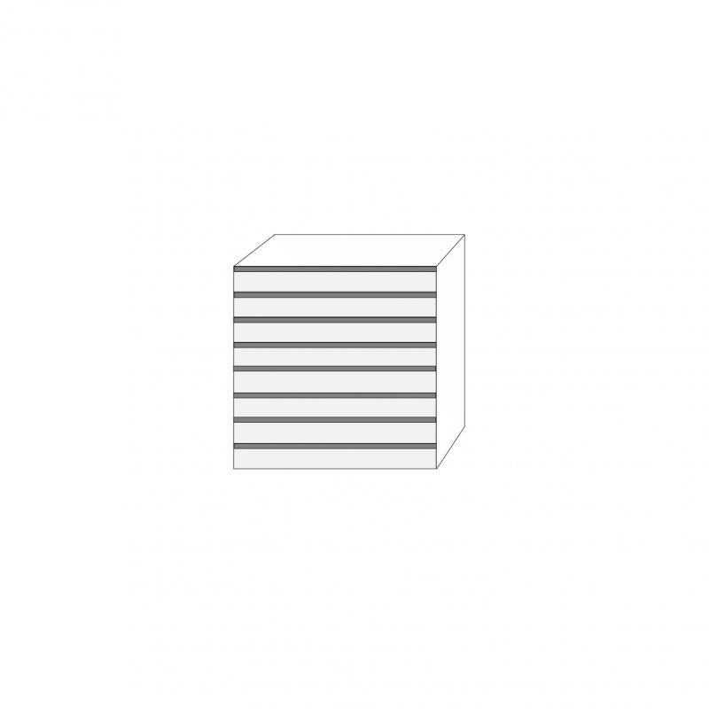 Fanér 80x80 - 8 lådfronter med grepplist: 10/10/10/10/10/10/10/10