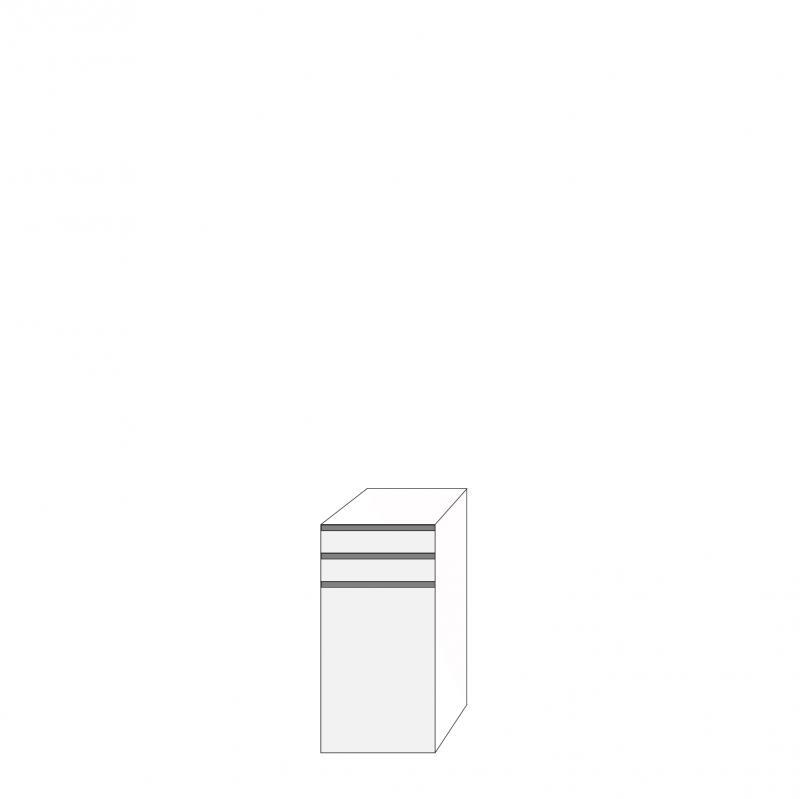 Fanér 40x80 - 3 lådfronter med grepplist: 10/10/60