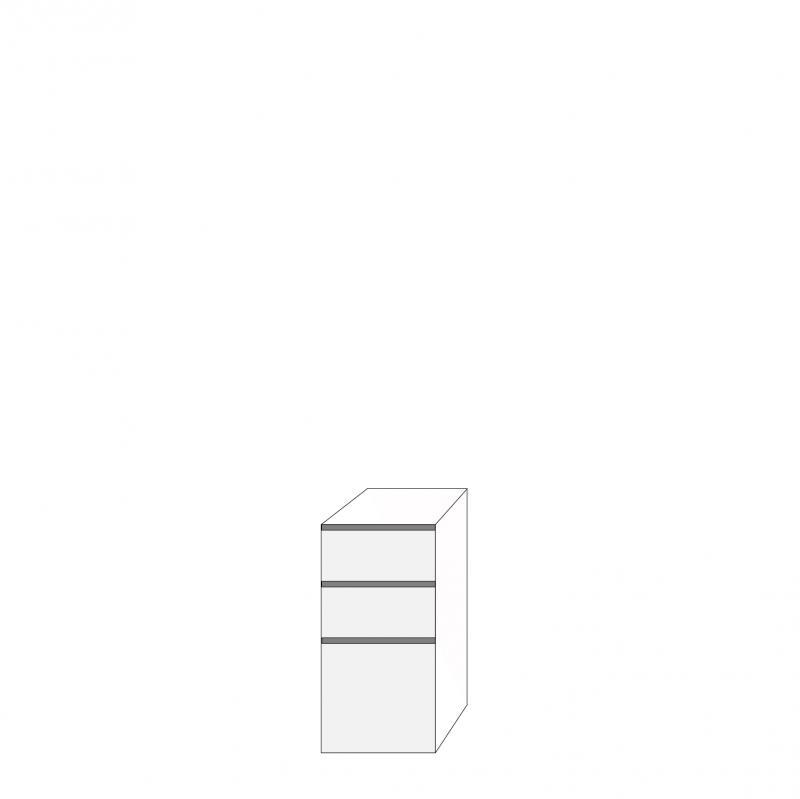 Fanér 40x80 - 3 lådfronter med grepplist: 20/20/40