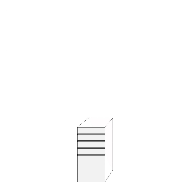 Fanér 40x80 - 5 lådfronter med grepplist: 10/10/10/10/40