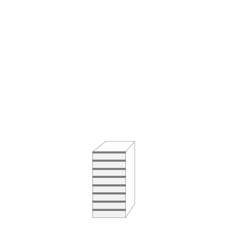 Fanér 40x80 - 8 lådfronter med grepplist: 10/10/10/10/10/10/10/10