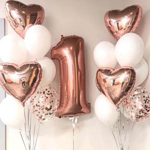 1st Birthday Luxury Ballong Bukett i Rosaguld/Vit.