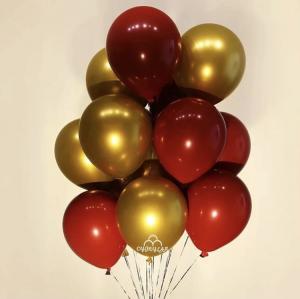 Ballong Bukett i Cherry Röd/Guld. 10 Pack.