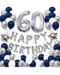 60th HAPPY BIRTHDAY Ballong set i MarinBlå. Storpack.