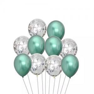 Ballong Bukett i Grön Chrome/ Silver Konfetti. 10 Pack