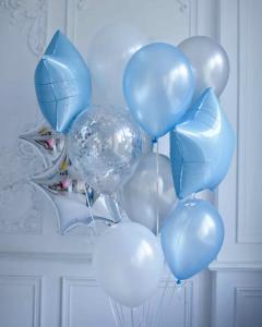 Ballong Bukett i Silver/Ljus Blå Metallic.