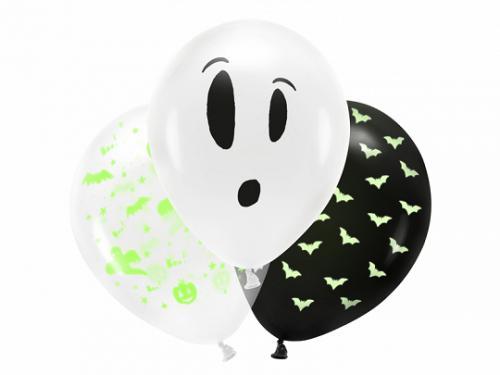 Blacklight ballonger 27cm, BOO!, 3 Pack, mix